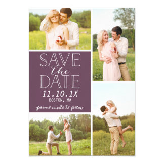 Modern Save The Date 4-Photo Purple Collage Card