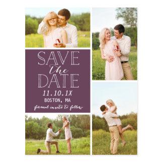Modern Save The Date 4-Photo Purple Collage Postcard
