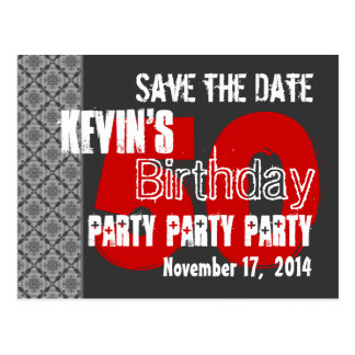 Modern Save the Date 50th Birthday Party Gray Red Postcard