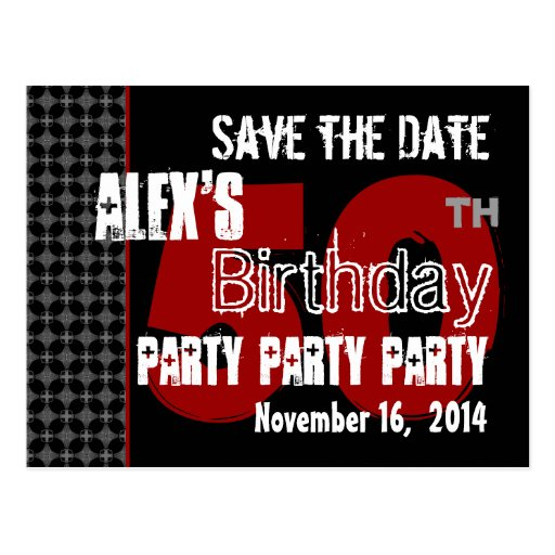 modern save the date 50th birthday party r203a postcard