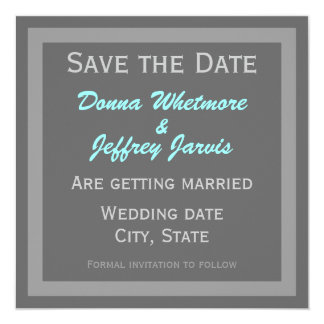 """Modern Save the Date Announcement Grey 5.25"""" Square Invitation Card"""