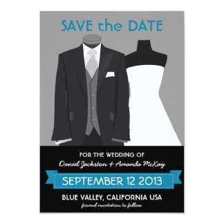 Modern Save the Date Bridal Attire Mannequin 5x7 Paper Invitation Card