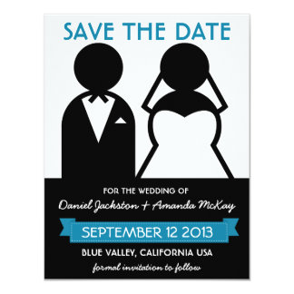 Modern Save the Date Bridal Couple Icons 4.25x5.5 Paper Invitation Card