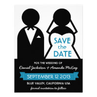 Modern Save the Date Bridal Couple Icons Invites