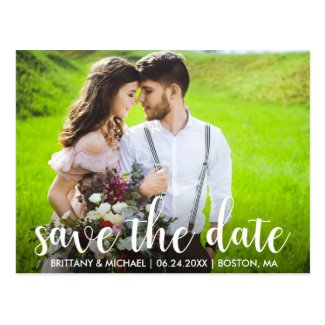 Modern Save The Date Engagement Couple Photo WS Postcard