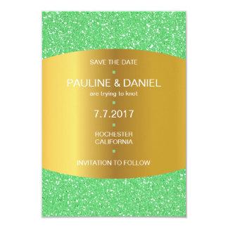 Modern Save The Date Golden Mint Glitter Card