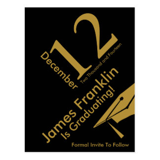 Modern Save The Date Graduation Black and Gold Postcard