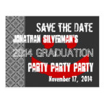 Modern Save the Date Graduation Party Red Black Postcard