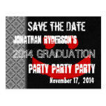 Modern Save the Date Graduation Party Red Black V2 Postcard