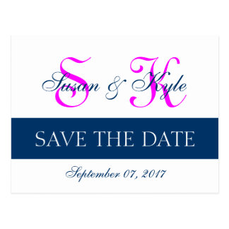 Modern Save the Date Navy Blue, Fuchsia (FF00FF) Post Cards