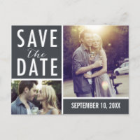 Modern Save The Date Photo Collage Announcement Postcard