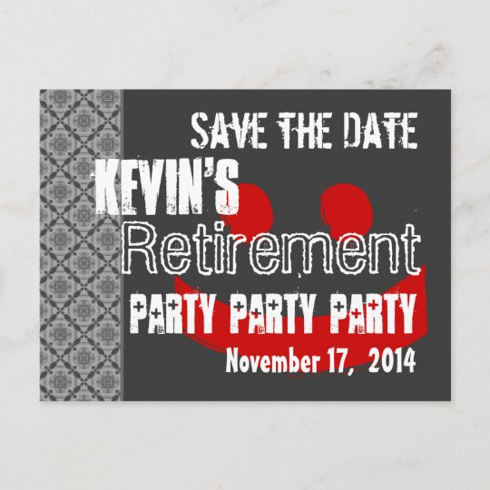 modern save the date retirement party gray red announcement postcard