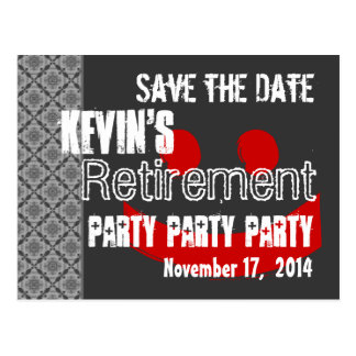 Modern Save the Date Retirement Party Gray Red Postcard