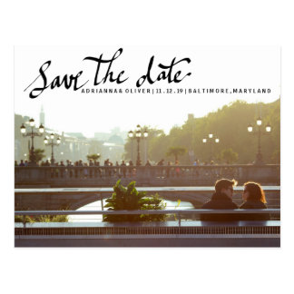Modern Save The Date Script Typography Photo Postcard