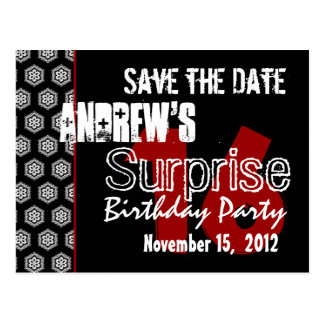 Modern Save the Date Surprise 16th Party V331 Postcard