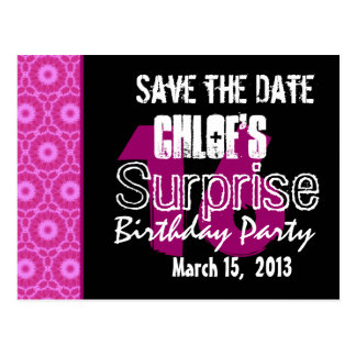 Modern Save the Date Surprise 16th Party W1744 Postcard