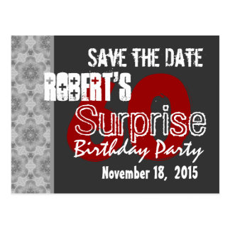 Modern Save the Date Surprise 60th Dark Gray v2 Postcard