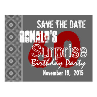 Modern Save the Date Surprise 60th Gray v3 Postcard