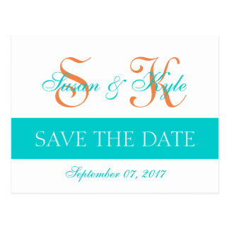 Modern Save the Date Teal Orange Double Monogram Postcard