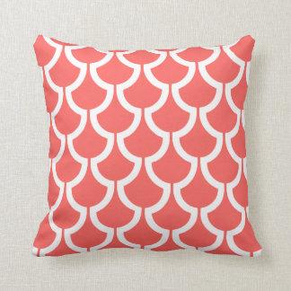 Modern Scales Geometric | coral white Throw Pillow