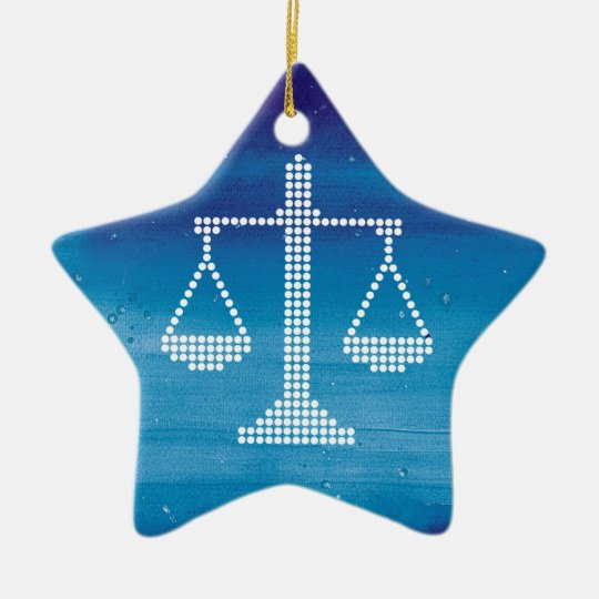 Modern Scales of Justice | Winter Ceramic Ornament