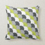 MODERN scallop fan pattern charcoal gray green Throw Pillows