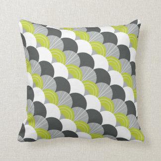 MODERN scallop fan pattern charcoal gray green Throw Pillow