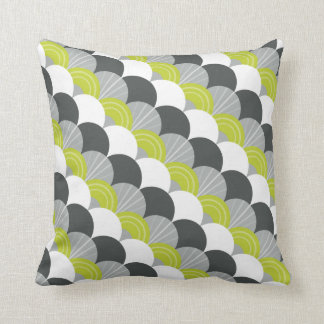 MODERN scallop fan pattern charcoal gray green Throw Pillow
