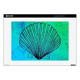 Modern Scallop Shell on Bright Blue-Green Laptop Skins