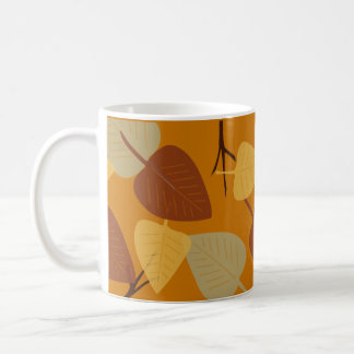 Modern scattered leaves autumn illustration classic white coffee mug