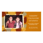 Modern scattered leaves thanksgiving blessing photo card