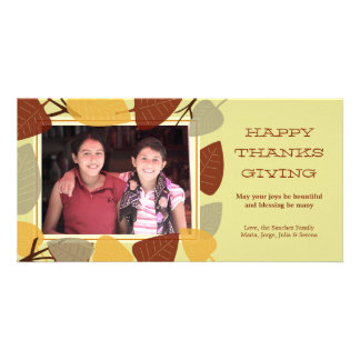 Modern scattered leaves thanksgiving blessing picture card