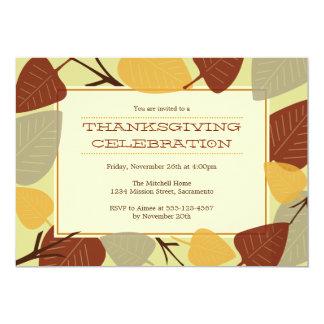 Modern scattered leaves thanksgiving celebration custom announcements