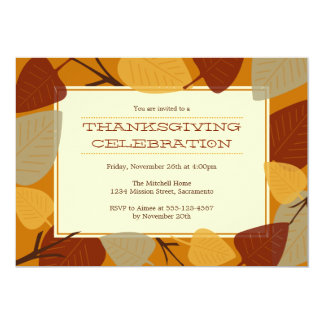 Modern scattered leaves thanksgiving celebration personalized invitations