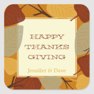 Modern scattered leaves thanksgiving celebration stickers