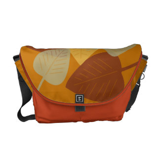 Modern scattered leaves yellow fall autumn fashion courier bag