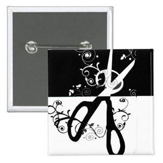 Modern Scissors Fashion Artists Hair Salons Pinback Button