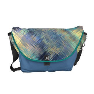 Modern Scribbled Plaid in Peacock Colors Courier Bag