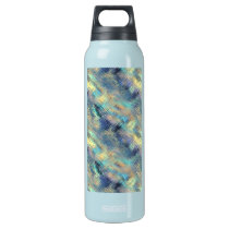 Modern Scribbled Plaid in Peacock Colors Insulated Water Bottle