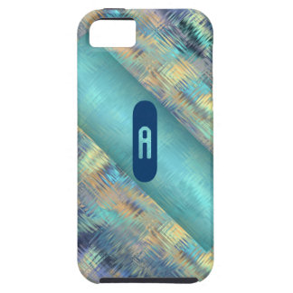 Modern Scribbled Plaid in Peacock Colors iPhone 5 Cases