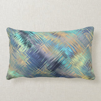 Modern Scribbled Plaid in Peacock Colors Lumbar Pillow