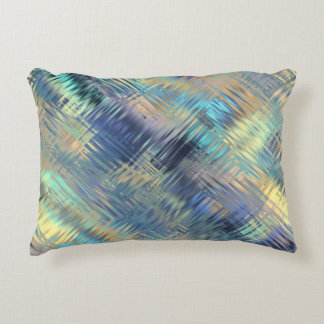 Modern Scribbled Plaid in Peacock Colors Accent Pillow