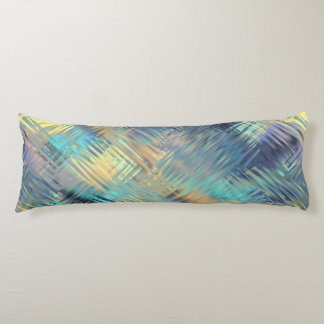 Modern Scribbled Plaid in Peacock Colors Body Pillow