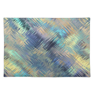 Modern Scribbled Plaid in Peacock Colors Placemat