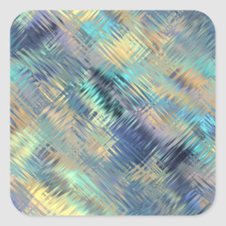 Modern Scribbled Plaid in Peacock Colors Square Sticker