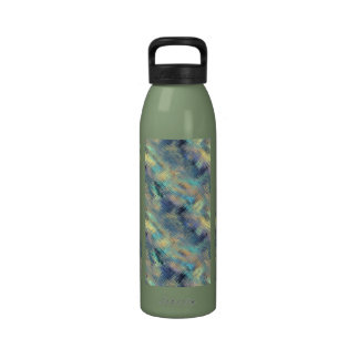 Modern Scribbled Plaid in Peacock Colors Reusable Water Bottle