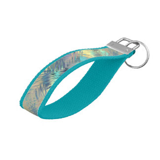 Modern Scribbled Plaid in Peacock Colors Wrist Keychain
