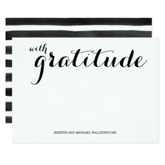 Modern Script and Stripes Thank You Card