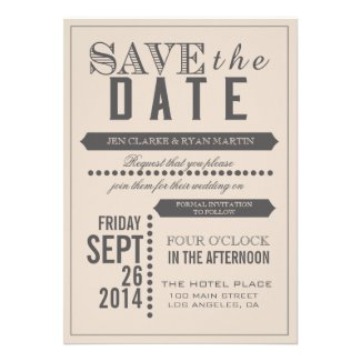 Beige Gray Save the Date Cards | Typography