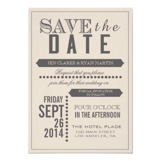 Modern Script Beige & Grey Save the Date 5x7 Paper Invitation Card
